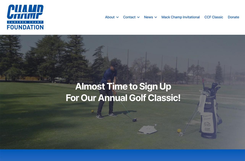 Cameron Champ Foundation homepage screenshot june 2021